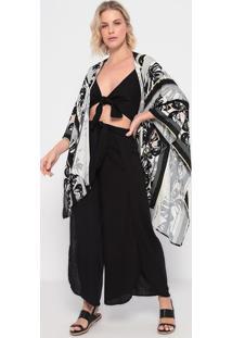Kimono Folhagens Com Fendas - Cinza & Preto - La Conla Concha