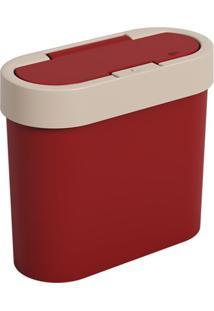 Lixeira Automática Flat 2,8 Litros Light Gray E Vermelho Bold