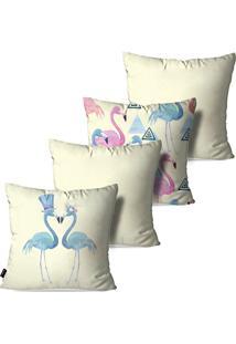 Kit Com 4 Capas Para Almofadas Pump Up Decorativas Off White Flamingos Love Geométrico 45X45Cm
