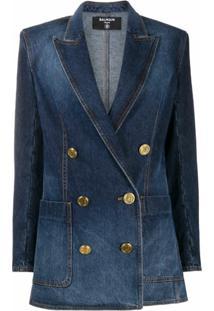 Balmain Blazer Jeans Com Abotoamento Duplo - Azul