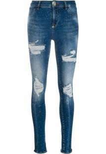 Philipp Plein Crystal Embellished Skinny Jeans - Azul
