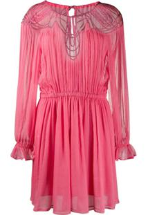 Alberta Ferretti Vestido Com Franzido E Recortes - Rosa