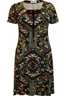 Vestido Pau A Pique Estampado Feminino - Feminino-Preto