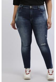 Calça Jeans Feminina Plus Size Sawary Cigarrete Levanta Bumbum Destroyed Cintura Alta Azul Escuro