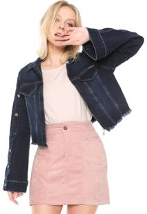 Jaqueta Jeans Colcci Botões Cropped Azul