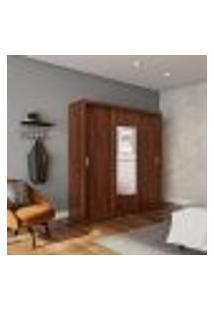 Guarda-Roupa Casal Com Espelho Rita Premium 3 Pt 4 Gv Café