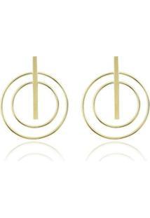 Brinco Piuka Luly Geométrico Folheado A Ouro 18K - Feminino-Dourado