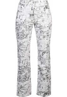 Off-White Calça Jeans Reta Cartoon - Branco