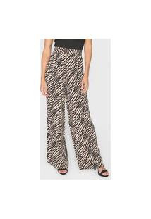 Calça Mob Pantalona Zebra Bege/Preto