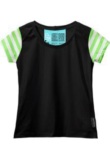 Camiseta Baby Look Feminina Algodão Listrada Estilo Moda Azul-Preto G Preto