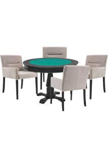 Mesa De Jogos Carteado Victoria Redonda Tampo Reversível Preto Com 4 Cadeiras Vicenza Nude - Gran Belo