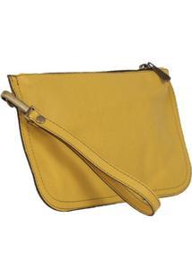 Bolsa De Mão Laser Couro Renda Mantoan Joy - Feminino-Amarelo