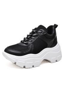 Tênis Sneaker Chunky Sapatênis Plataforma Preto Com Solado Branco Com Cadarço