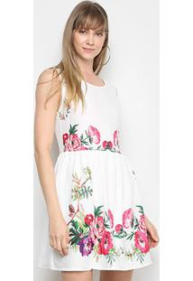 Vestido Lily Fashion Evasê Floral - Feminino-Branco+Verde