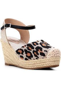 Sandália Anabela Shoestock Salto Alto Corda Feminina - Feminino-Onça