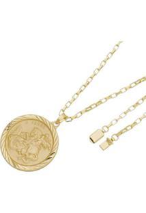 Pingente São Jorge Com Corrente Cartier Gaveta Tudo Joias Folheado A Ouro 18K - Masculino-Dourado