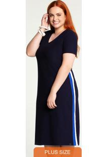 Vestido Plus Size Crepe Midi Azul