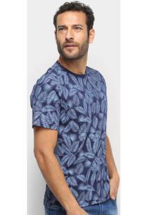 Camiseta Aleatory Folhagem Masculina - Masculino-Marinho