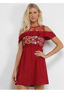 Vestido Angel City Bordado Open Shoulder - Feminino-Vinho