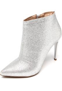 Bota Dafiti Shoes Glitter Bico Fino Prata