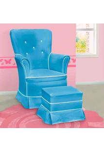 Poltrona Amamentação Sofia Fixa E Puff Azul E Branca - Confortável