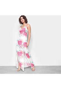 Vestido Longo Road Mel Estampado Fenda - Feminino-Coral