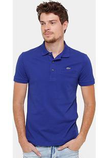 Camisa Polo Lacoste Piquet Bolso Masculina - Masculino-Azul