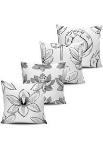 Kit 4 Capas Almofadas Floral Nativa Branco E Preto 45X45Cm - Tricae