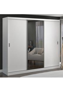 Guarda-Roupa Casal 3 Portas De Correr Com 1 Espelho 100% Mdf 7320E1 Branco - Foscarini