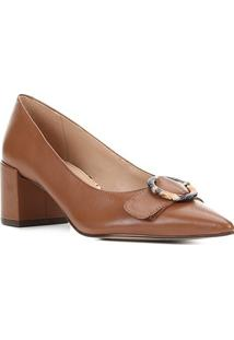 Scarpin Couro Shoestock Salto Médio Fivela Snake - Feminino-Marrom