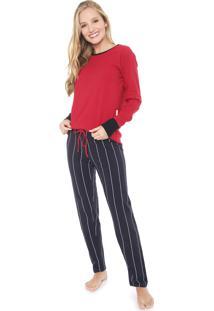 Pijama Lupo Listrado Azul-Marinho/Vermelho