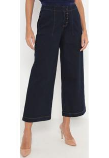 Jeans Ankle Low Pantacourt Com Zíper- Azul Escuro- Eenna