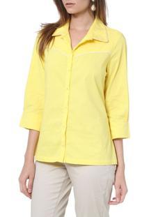 Camisa Moché C/Frizzo 3/4 - Feminino-Amarelo