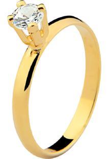 Anel Solitário Banhado A Ouro 18K - Kanui