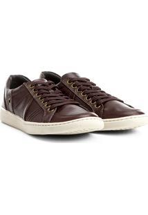Sapatênis Couro Shoestock Recortes Masculino - Masculino-Café