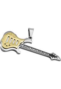 Pingente Tudo Joias Guitarra Gold De Aço Inox 316L - Unissex-Prata+Dourado