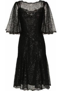 Dolce & Gabbana Vestido Mini Drapeado Metálico - Preto