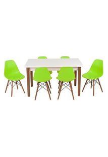 Conjunto Mesa De Jantar Luiza 135Cm Branca Com 6 Cadeiras Eames Eiffel - Verde