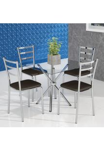 Conjunto De Mesa De Cozinha Com Tampo De Vidro Beatrice Ii E 4 Cadeiras Cacau