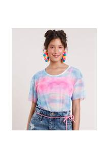 Blusa Feminina Pride Estampada Tie Dye Em Tule Manga Curta Decote Redondo Azul Claro