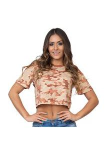 Camiseta Kings Sneakers Cropped Camuflado Marrom