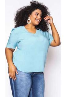 Blusa Almaria Plus Size Enois Viscolinho Lisa Azul Ceu Azul