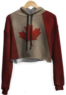 Blusa Cropped Moletom Feminina Overfame Canadã¡ - Marrom/Vermelho - Feminino - Poliã©Ster - Dafiti