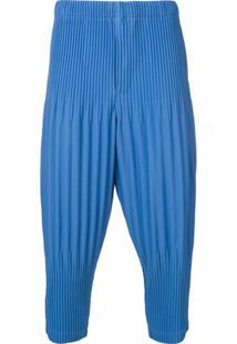 Homme Plissé Issey Miyake Calça Cropped Com Pregas - Azul