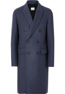 Burberry Sobretudo Dupla Face De Lã E Cashmere - Azul