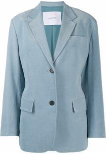 Pushbutton Blazer Reto Com Abotoamento Simples - Azul