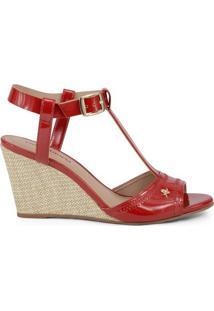 Sandã¡Lia Anabela Com Tiras - Vermelha & Bege- Salto:Cravo & Canela