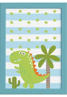 Quadro Infantil Dinossauro Quartinhos Baby 2 Verde 22X32 Moldura Azul