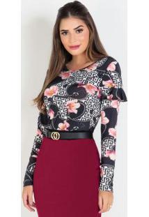 Blusa Floral E Correntes Moda Evangélica