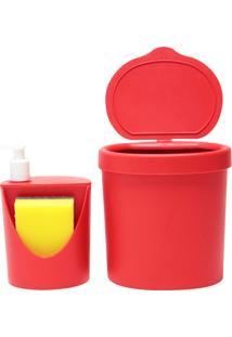 Kit Para Pia 2 Peças: 1 Lixeira 2,5L + Dispenser 600Ml, Cor Vermelha - Coza